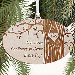 Carved In Love Personalized Wood Ornament Collection