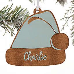 Ho! Ho! Ho! Santa Hat Personalized Wood Ornament in Blue