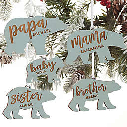 Bear Family Personalized Wood Ornament in Blue Stain