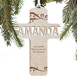 Bless This Child Personalized Wood Ornament in Whitewash