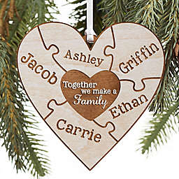 Together We Make A Family Personalized Wood Ornament in Whitewash