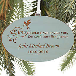 Forever Loved Personalized Memorial Wood Ornament in Blue Stain