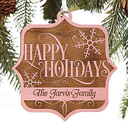 Tis the Season Personalized Wood Ornament in Pink Stain