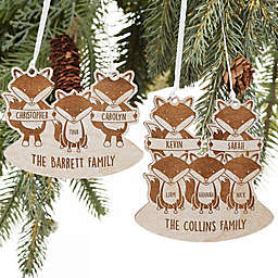 Fox Family Personalized Wood Ornament in Pink Stain