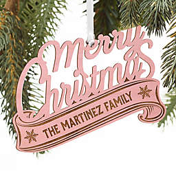 Merry Christmas Personalized Wood Ornament in Pink Stain