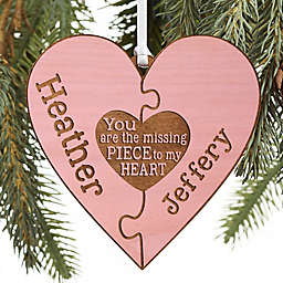 Perfect Match Personalized Wood Ornament in Pink Stain