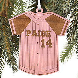 Baseball Jersey Personalized Wood Ornament in Pink Stain