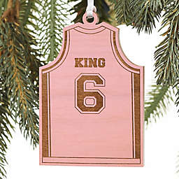 Basketball Jersey Personalized Wood Ornament in Pink Stain