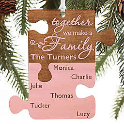 Pieces Of Love Personalized Family Wood Ornament in Pink Stain