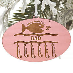 Hooked On You Engraved Wood Ornament in Pink Stain
