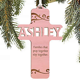 Bless This Child Personalized Wood Ornament in Pink Stain