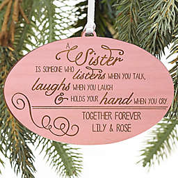 Special Sister Personalized Wood Ornament in Pink Stain