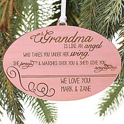 Wonderful Grandma Personalized Wood Ornament in Pink Stain