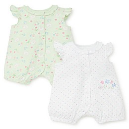 Little Me® 2-Pack Bunny Flower Rompers
