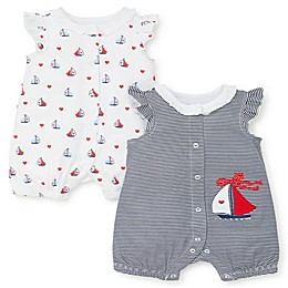 Little Me® 2-Pack Sailboat Rompers in Blue