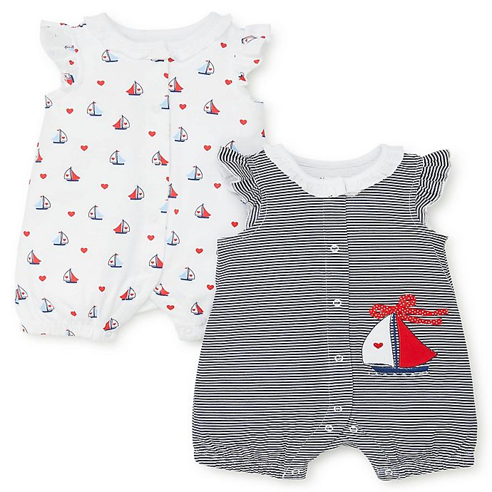 Alternate image 1 for Little Me® 2-Pack Sailboat Rompers in Blue