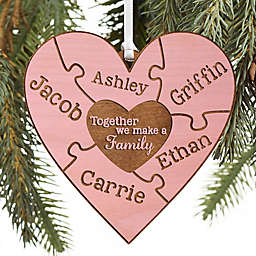 Together We Make A Family Personalized Wood Ornament in Pink Stain