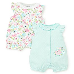 Little Me® 2-Pack Tropical Rompers in Aqua