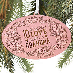 Reasons Why For Her Personalized Wood Ornament in Pink Stain