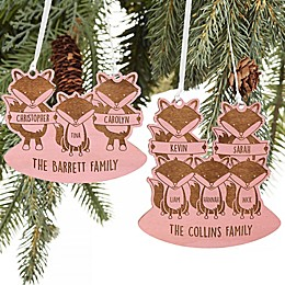 Fox Family Personalized Wood Ornament in Blue Stain