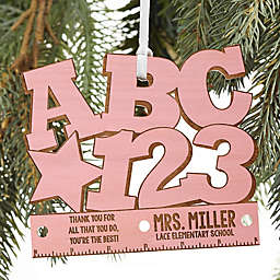 ABC & 123 Personalized Teacher Ornament in Pink Stain
