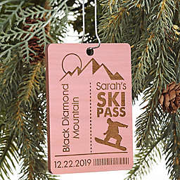 Ski Pass Personalized Wood Ornament in Pink Stain