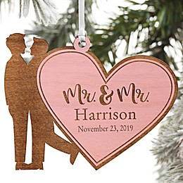 Wedding Couple Personalized Wood Ornament- Mr. & Mr. Design Collection