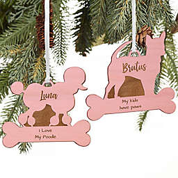 Dog Breed Personalized Wood Ornament in Pink Stain