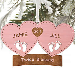 Twin Arrival Personalized Christmas Ornament in Pink Stain