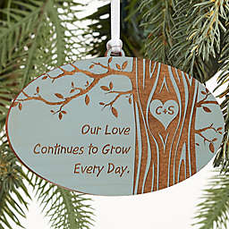 Carved In Love Personalized Wood Ornament in Blue Stain