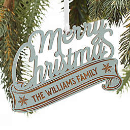 Merry Christmas Personalized Wood Ornament in Blue Stain