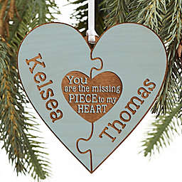 Perfect Match Personalized Wood Ornament in Blue Stain