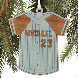 Baseball Jersey Personalized Wood Ornament in Blue Stain