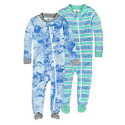 The Honest Company® 2-Pack Watercolor World Organic Cotton Footed Pajamas
