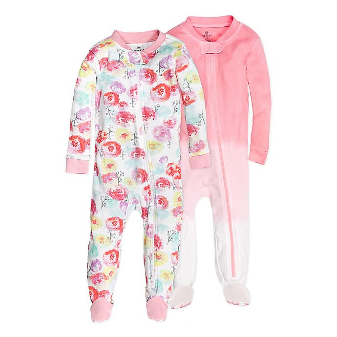 Alternate image 1 for The Honest Company® 2-Pack Rose Blossom Organic Cotton Footed Pajamas