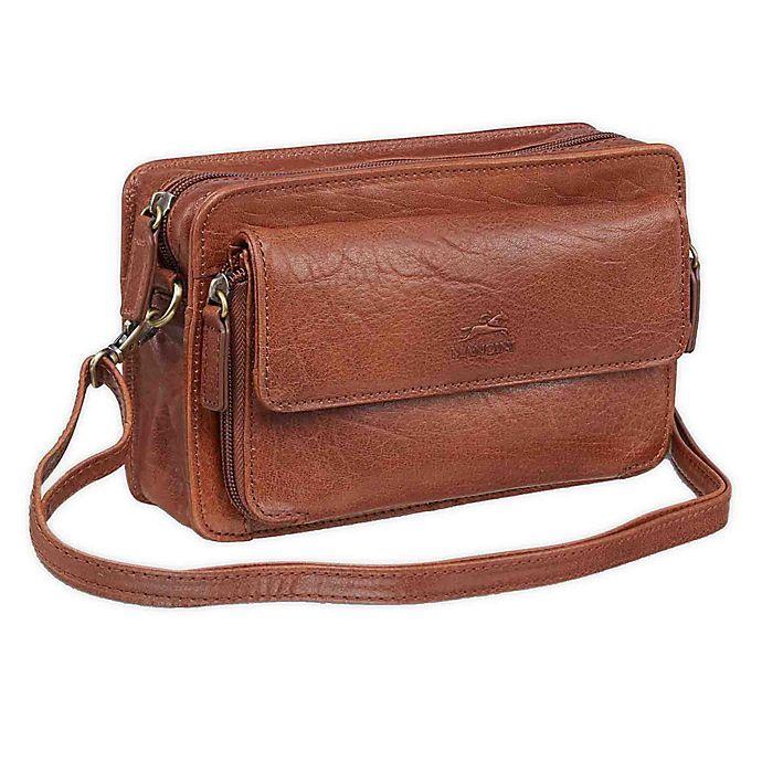 Alternate image 1 for Mancini Arizona Single Section Unisex Leather Bag in Black