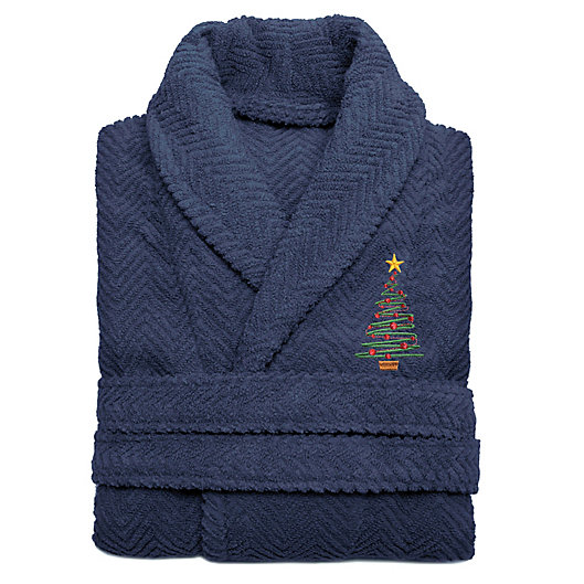 Alternate image 1 for Linum Home Textiles Embroidered Christmas Tree Herringbone Bathrobe