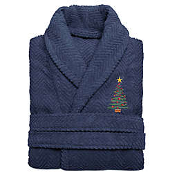Linum Home Textiles Embroidered Christmas Tree Herringbone Bathrobe
