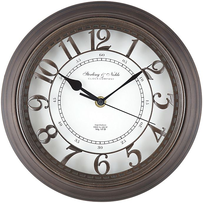 Alternate image 1 for Sterling & Noble™Raised Arabic Grill Round 10-Inch Wall Clock in Bronze