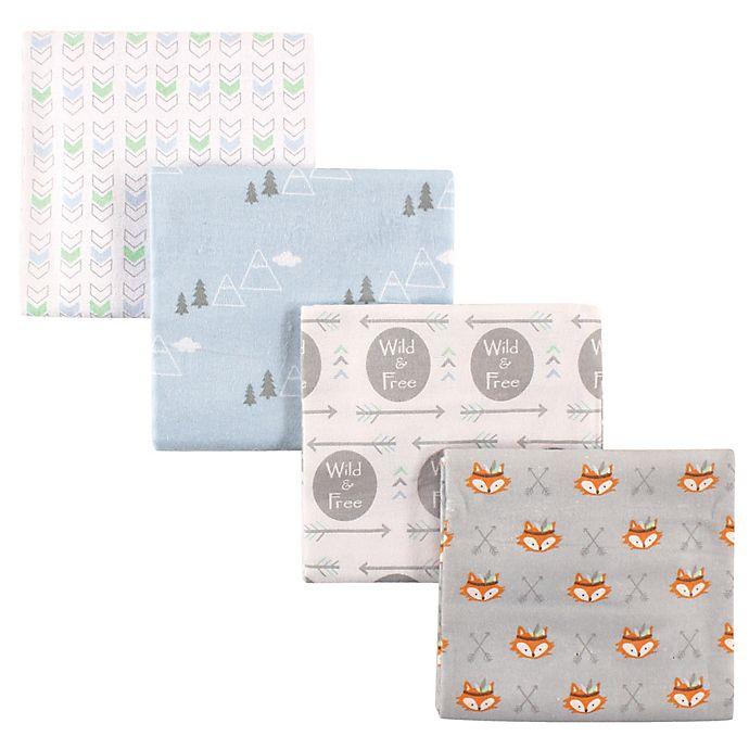 Alternate image 1 for Luvable Friends® 4-Pack Wild & Free Flannel Receiving Blankets in Grey