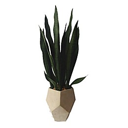 27-Inch Faux Sanseveria with Geo Cement Pot