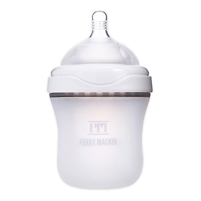 Alternate image 1 for Perry Mackin 6 oz. Silicone Wide Neck Baby Bottle in White