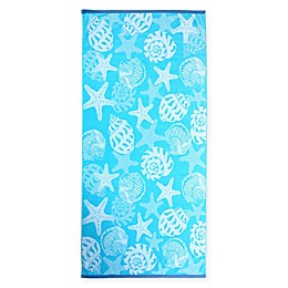 Destination Summer Seashells Beach Towel in Blue/White