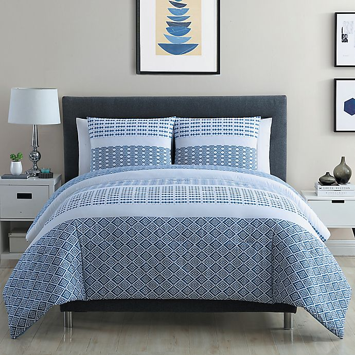 Vcny Home Pure 3 Piece Geometric Stripes Duvet Cover Set In Blue White Bed Bath Beyond