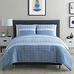 VCNY Home Pure 3-Piece Geometric Stripes Duvet Cover Set in Blue/White