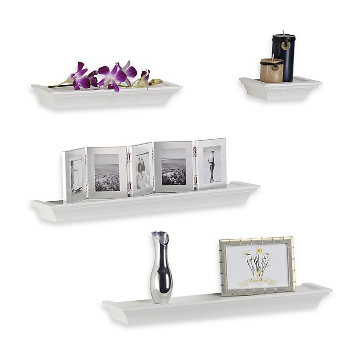 Kitchen Wall Decor Bed Bath And Beyond: Melannco 4-Piece Ledge Set In White