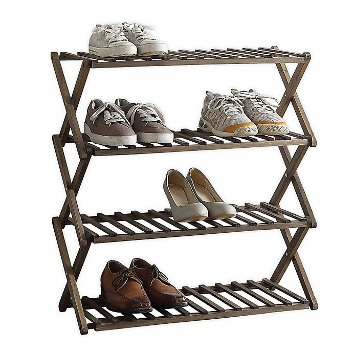 Alternate image 1 for Lifestyle Home 4-Tier Solid Wood Foldable Shoe Rack in Dark Brown