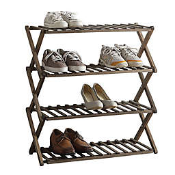 Lifestyle Home 4-Tier Solid Wood Foldable Shoe Rack in Dark Brown