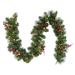 Winter Wonderland Traditional Frosted Berry 6-Foot Garland in Green/Red (Set of 2)