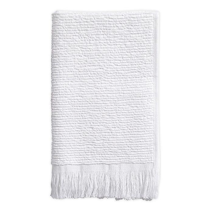 Alternate image 1 for Ribbed Fringe Fingertip Towel in White